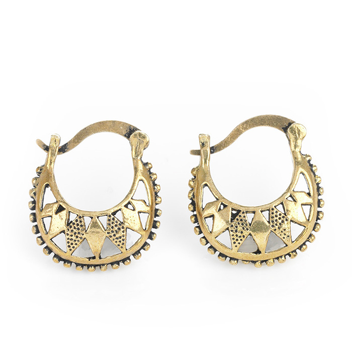 Brass Basket Hoop Earrings