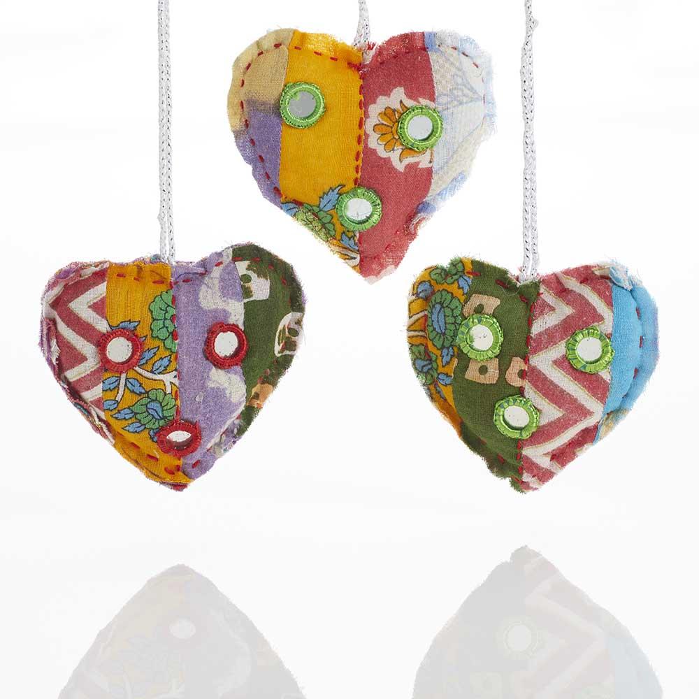 Kantha Heart Ornament Set