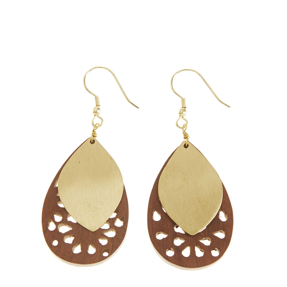 Wood & Brass Cutout Leaf Earrings