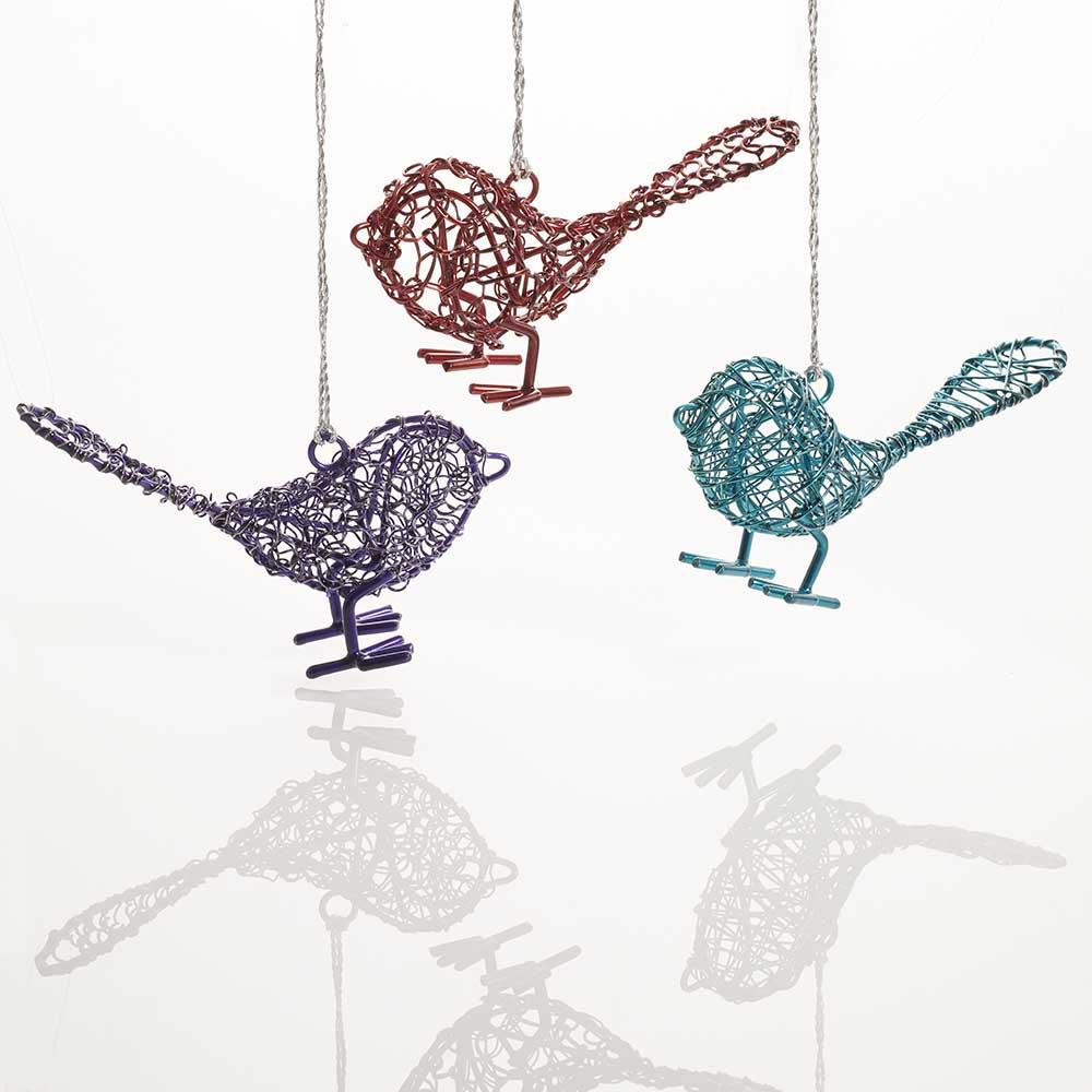 Wire Birdie Ornament Set