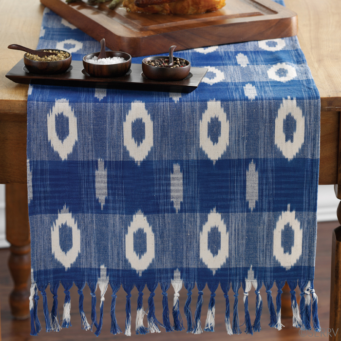 Blue And White Ikat Table Runner