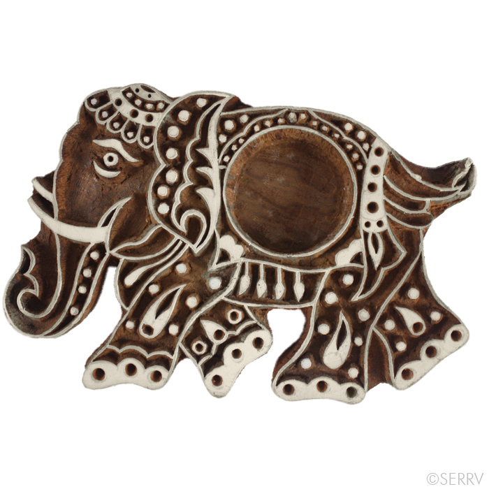 Elephant Wood Block Tea Light Holder