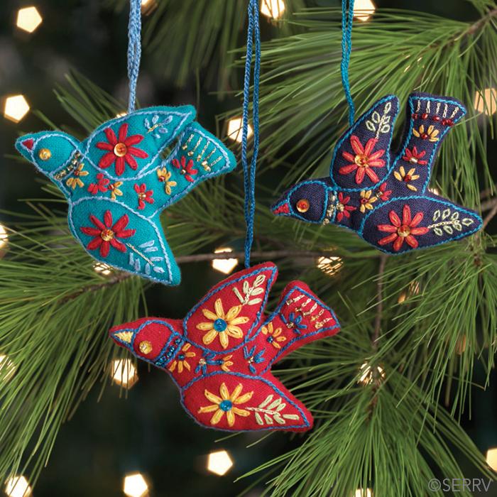 Jeweled Dove Ornaments