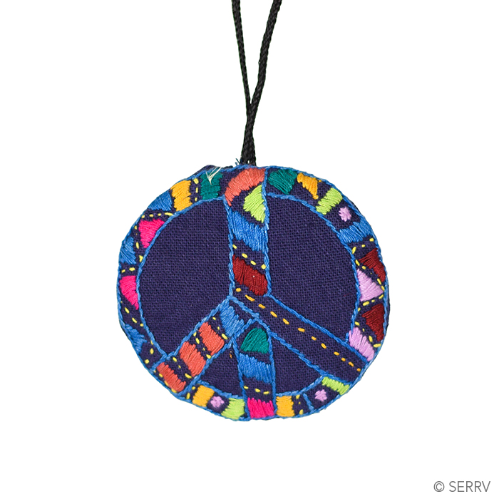Embroidered Peace Ornament