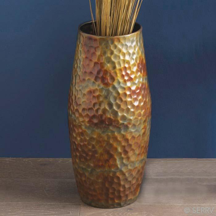 Hammered Iron Floor Vase