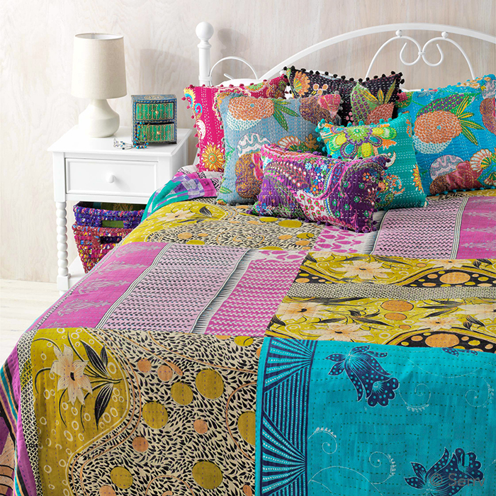 Queen-Size Cool Kantha Bedcover