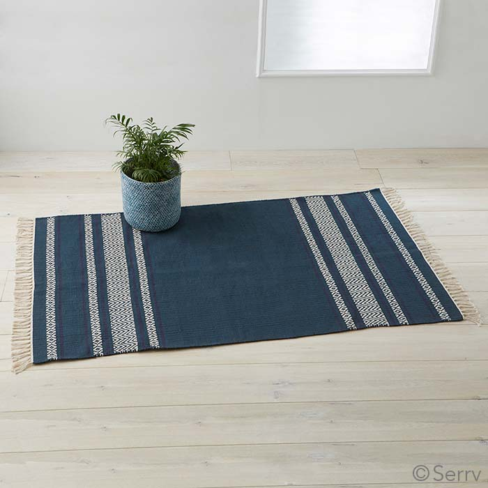 Chevron Kitchen Rug: Blue Chevron Stripe Rug