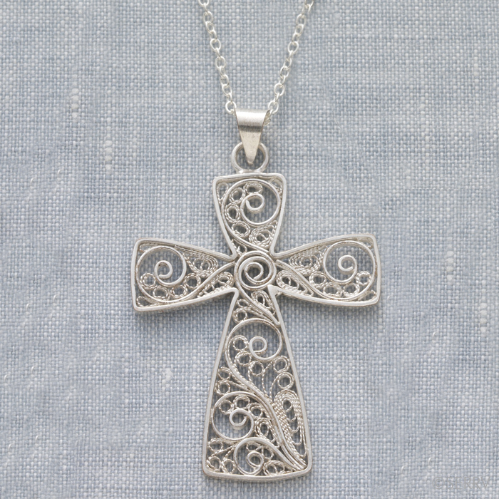 Filigree Vine Cross Necklace