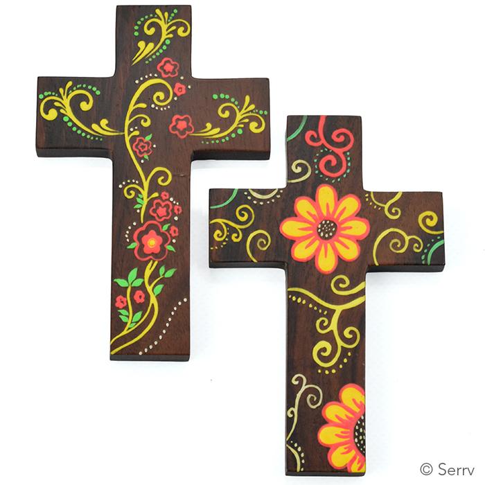 Wooden Flower Crosses