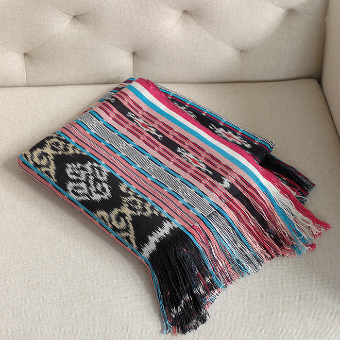 Ikat Dobi Throw - Pink & Teal