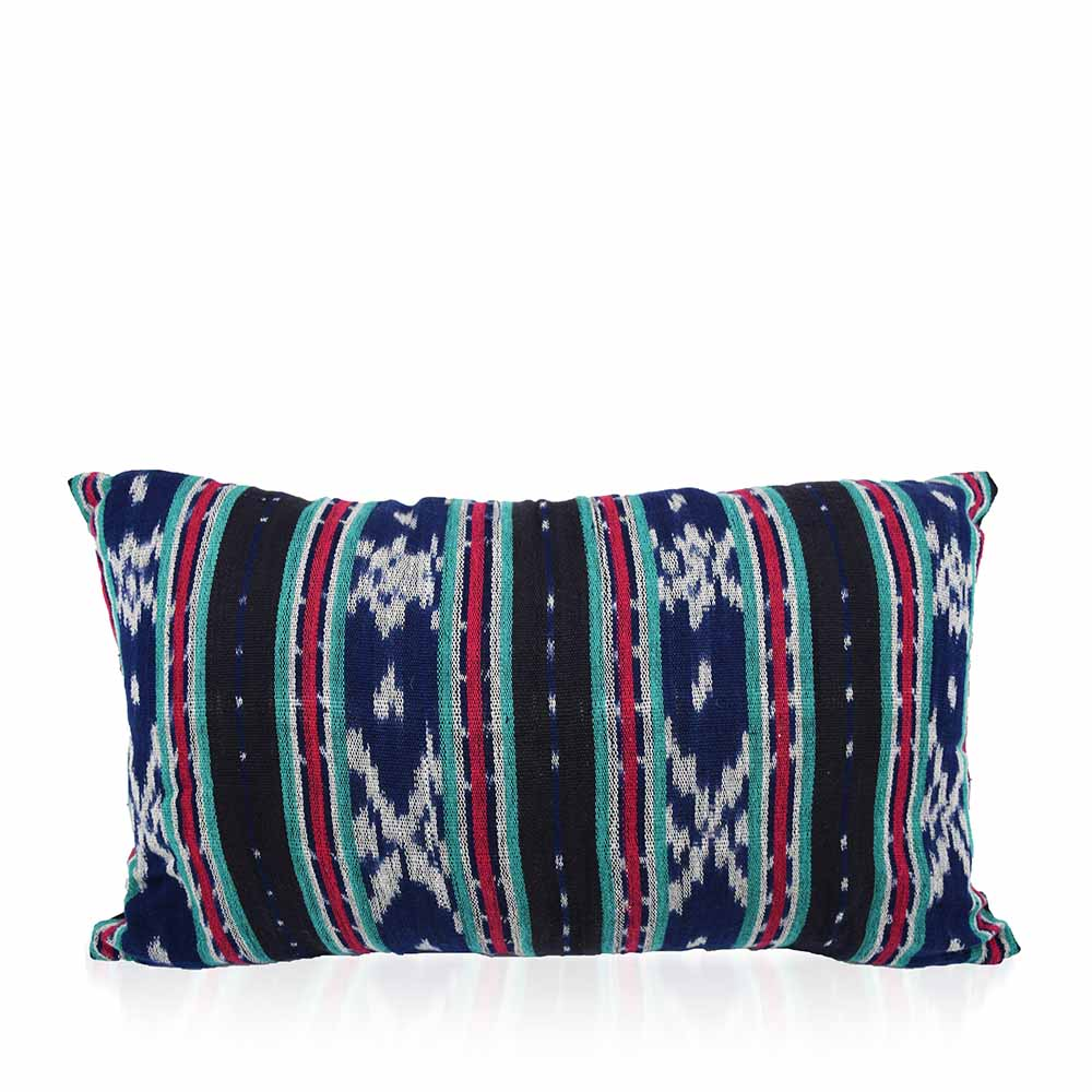Ikat Dobi Lumbar Pillow - Navy & Black