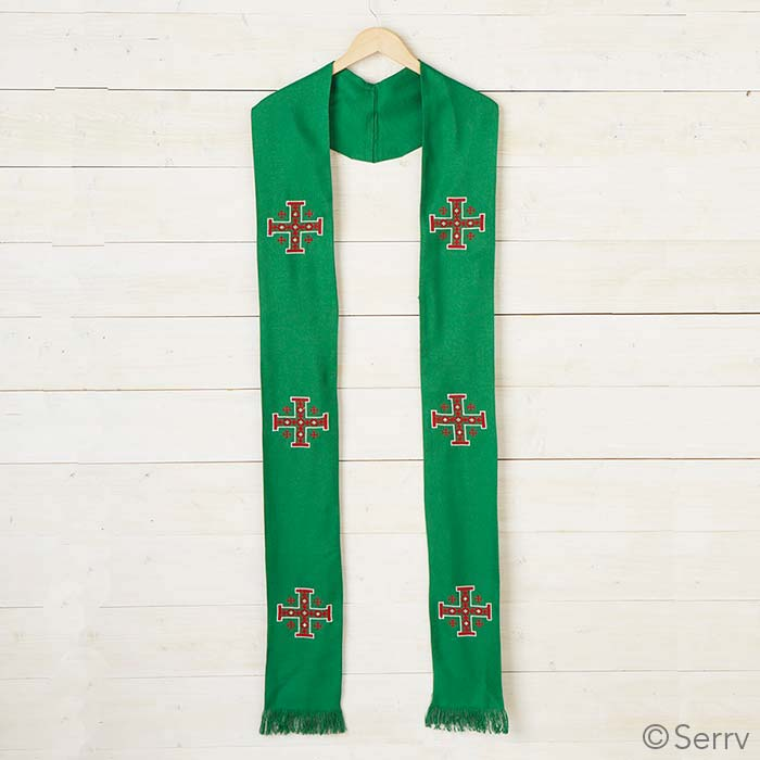 Jerusalem Cross Stole - Green