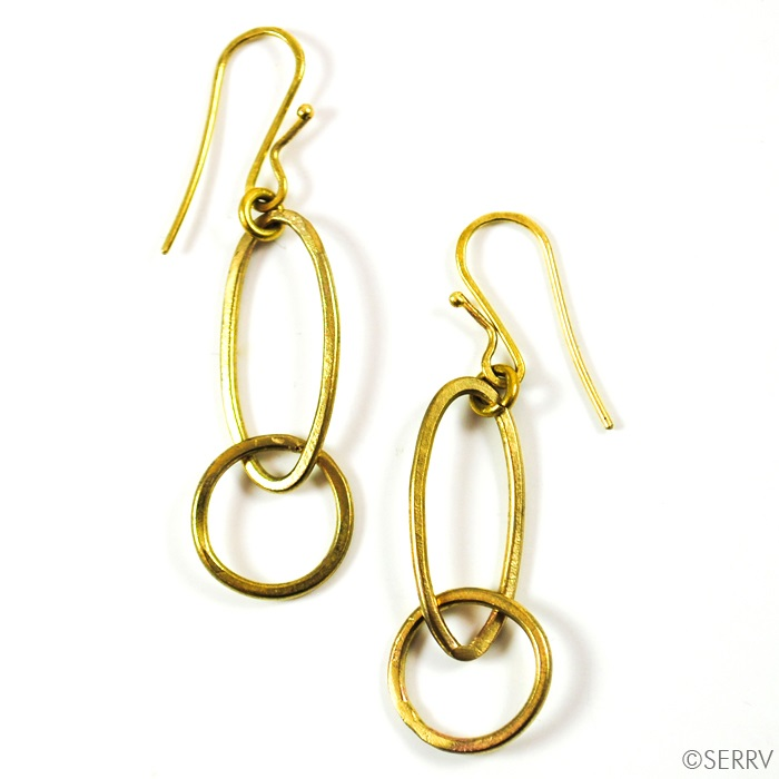 Oval Loops Brass Earrings
