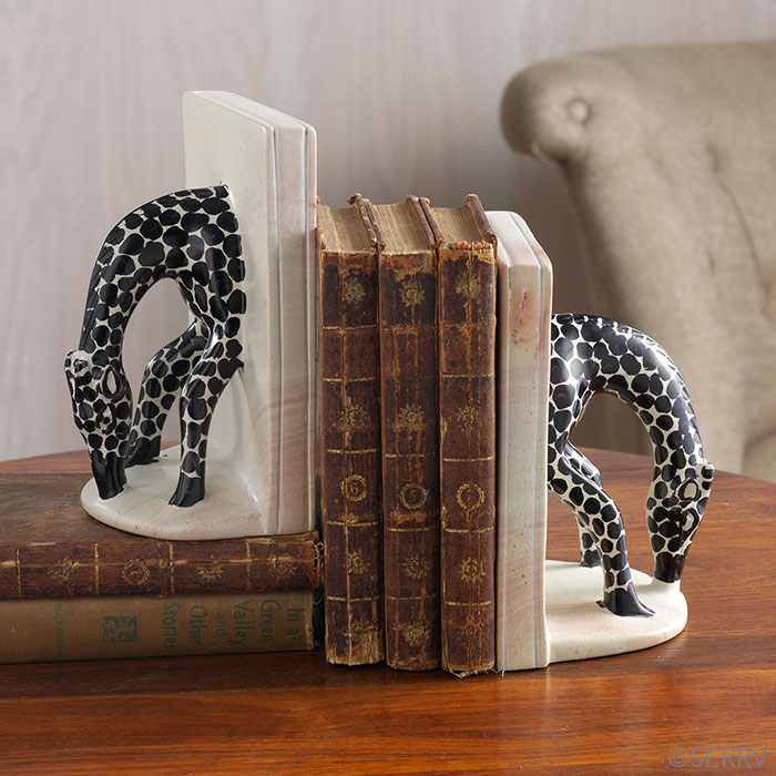 Drinking Giraffe Bookends