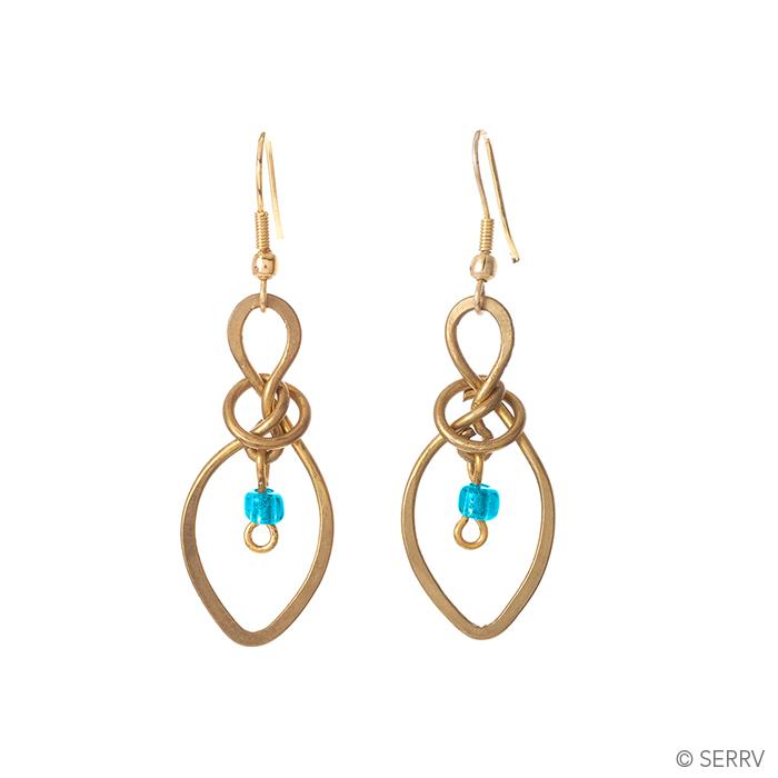 Knotted Aqua Drop Earrings