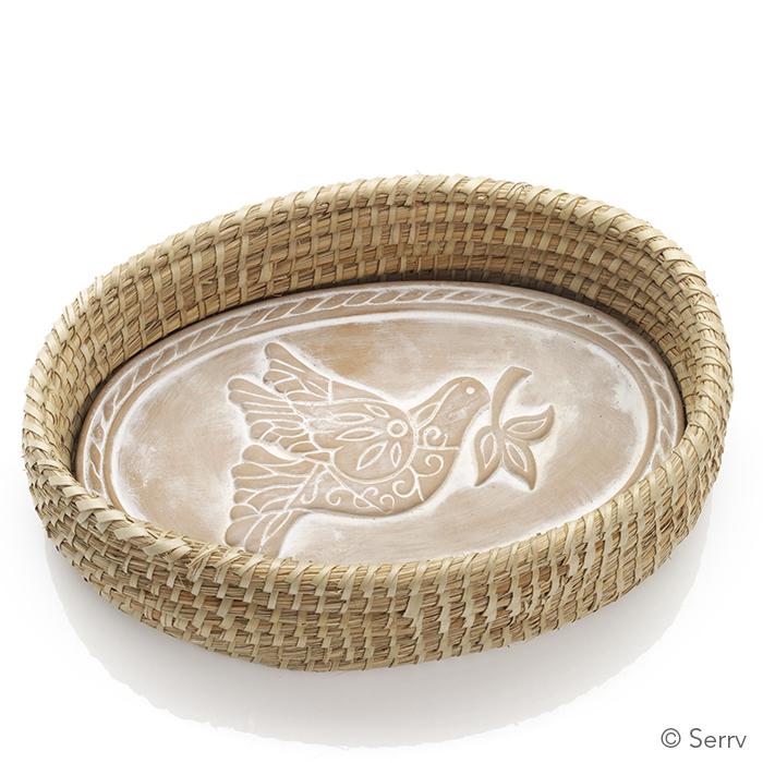 Oval Peace Dove Bread Warmer & Basket