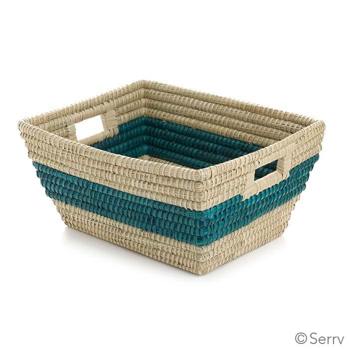 Teal Singular Stripe Rectangle Basket