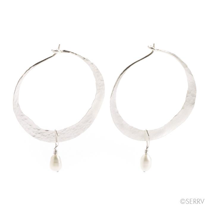 Silver Hoops with Pearl Earrings