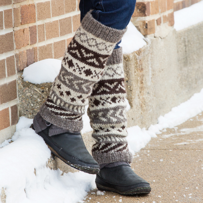 Natural Pattern Himalaya Leg Warmers, Winter Knits: Serrv International