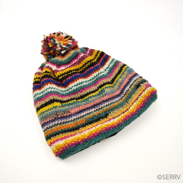 Rainbow Remnants Pom Hat