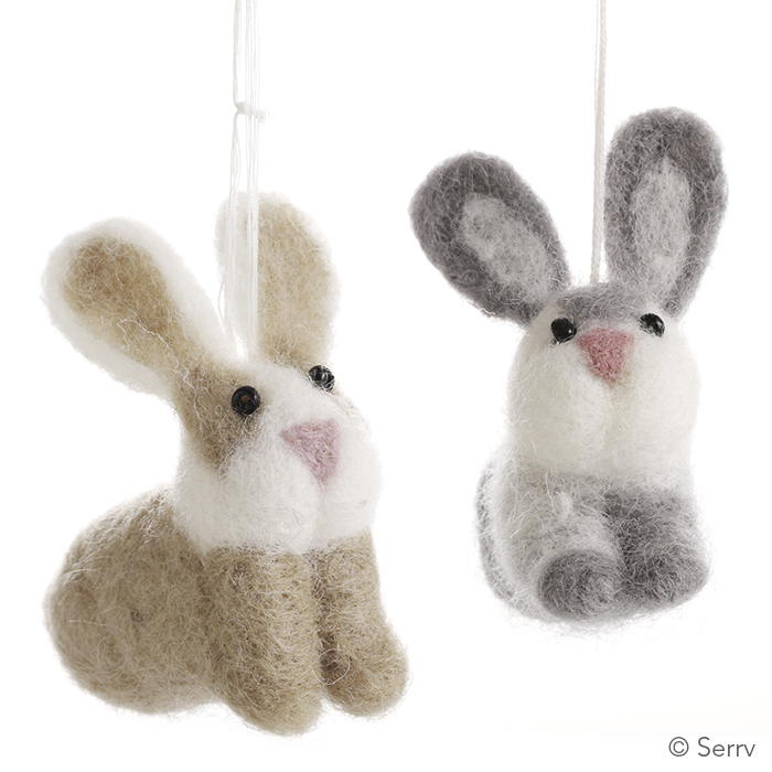 Felted Easter Bunny Ornaments