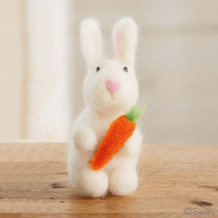 White Fuzzy Bunny with Carrot