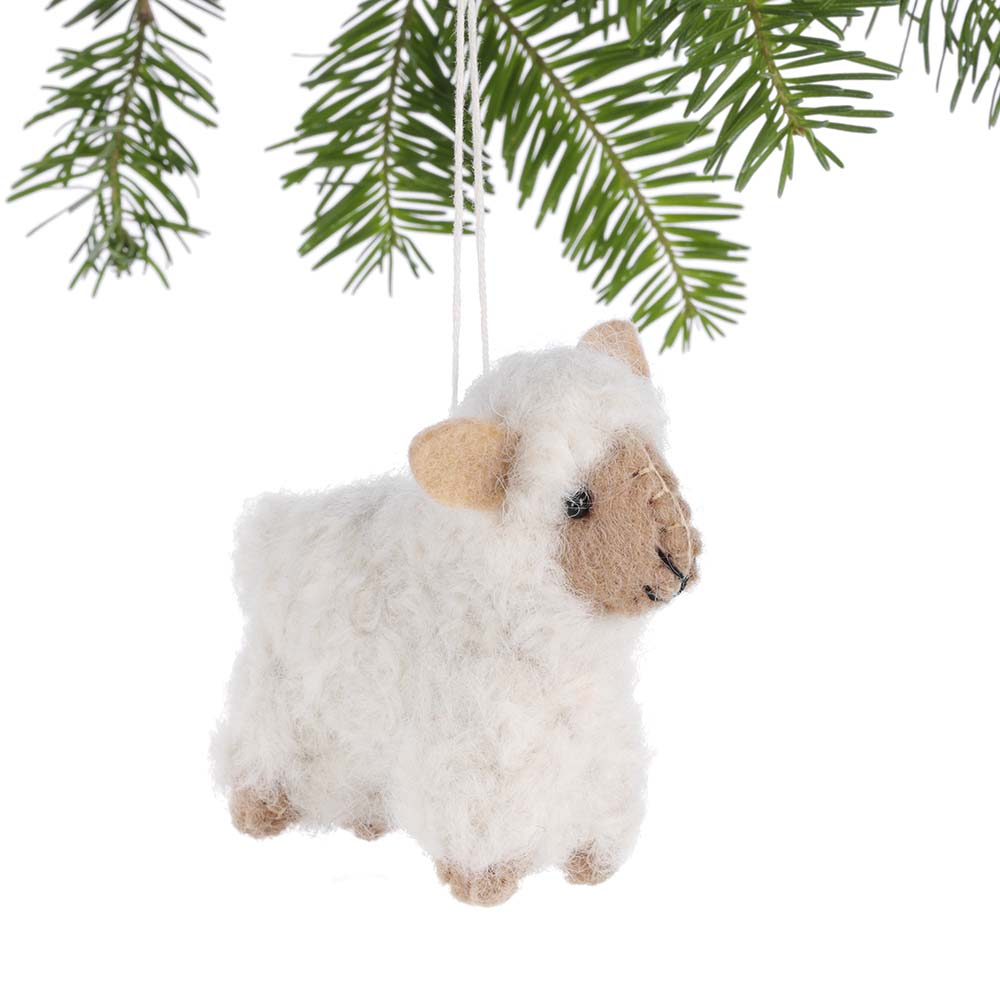 White Woolly Sheep Ornament