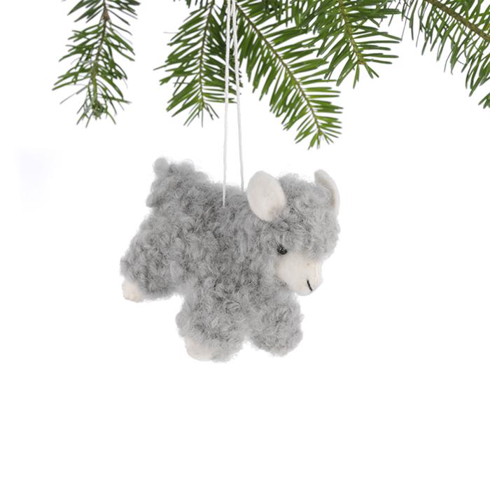 Gray Woolly Sheep Ornament