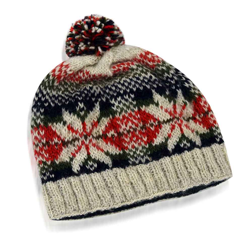 Fair Isle Snowflake Pom Hat