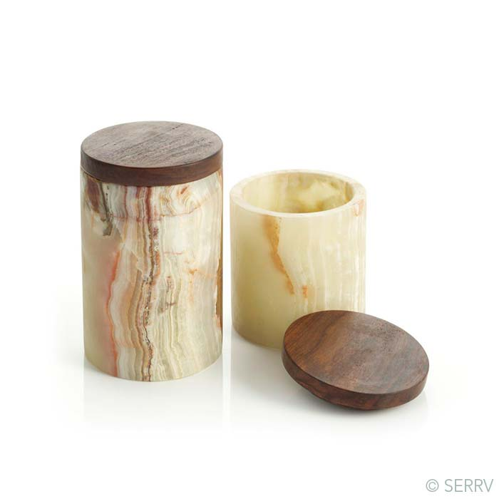 Set of 2 Onyx Canisters