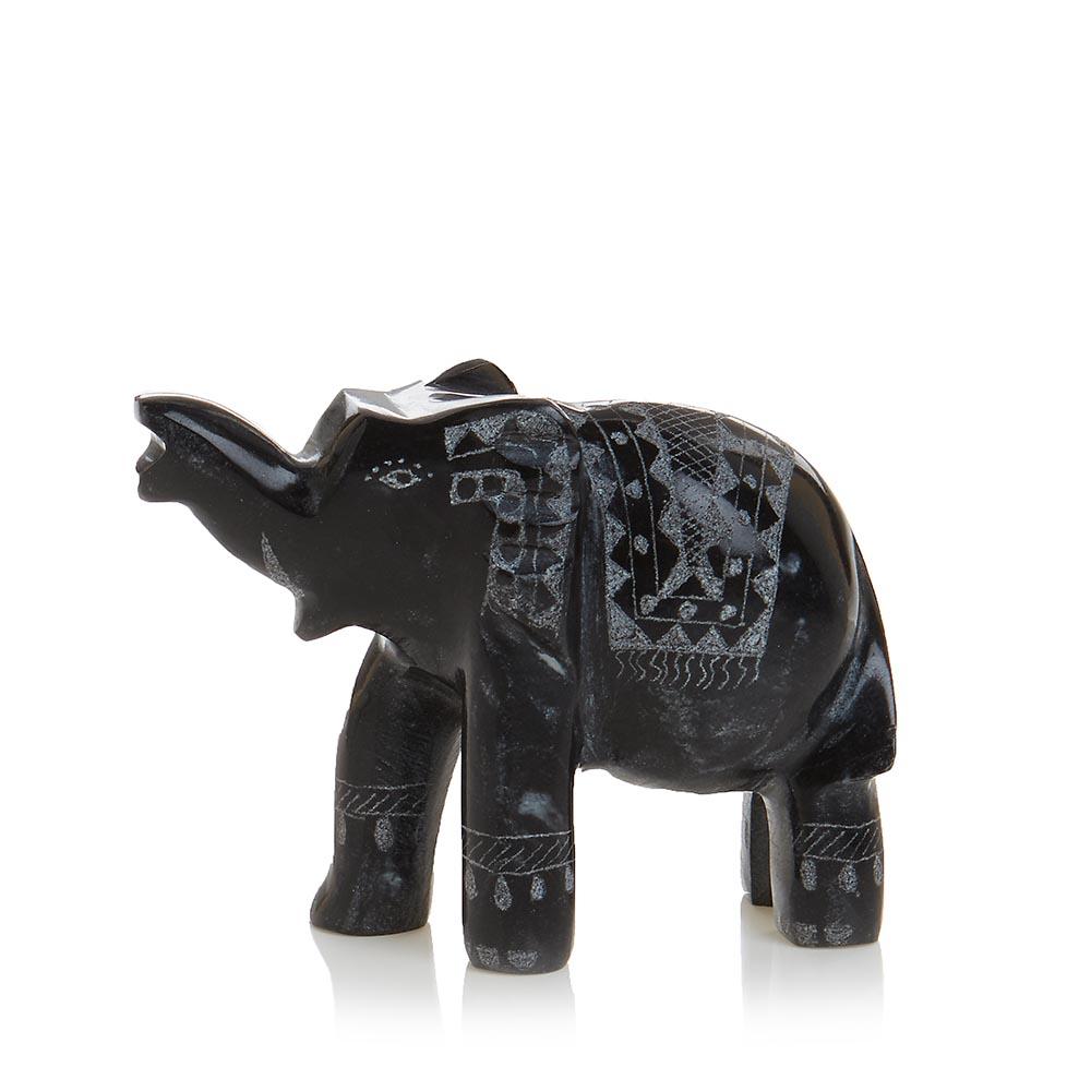 Black Marble Elephant - Small