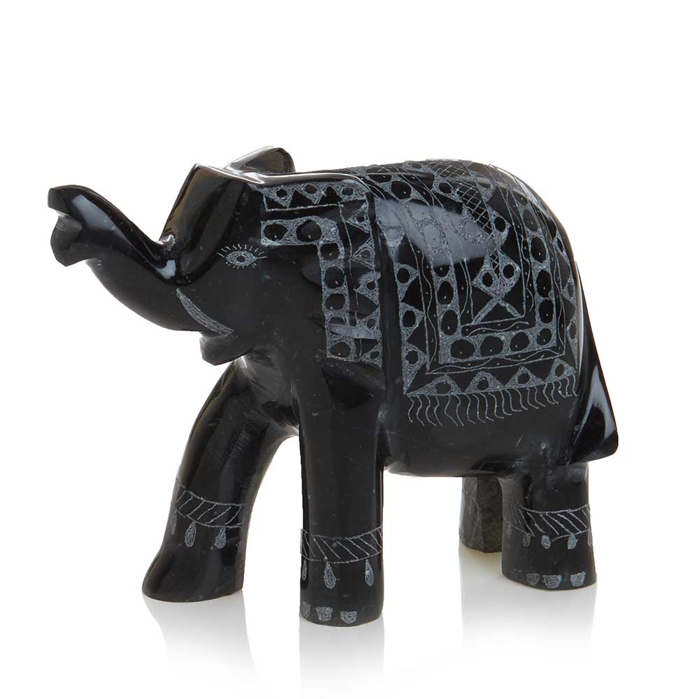 Black Marble Elephant - Large