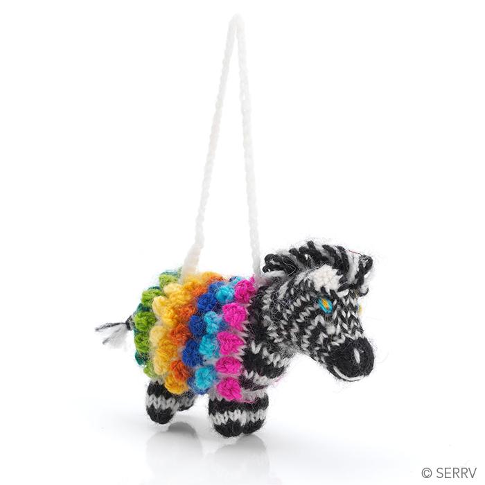 Pom Zebra Ornament