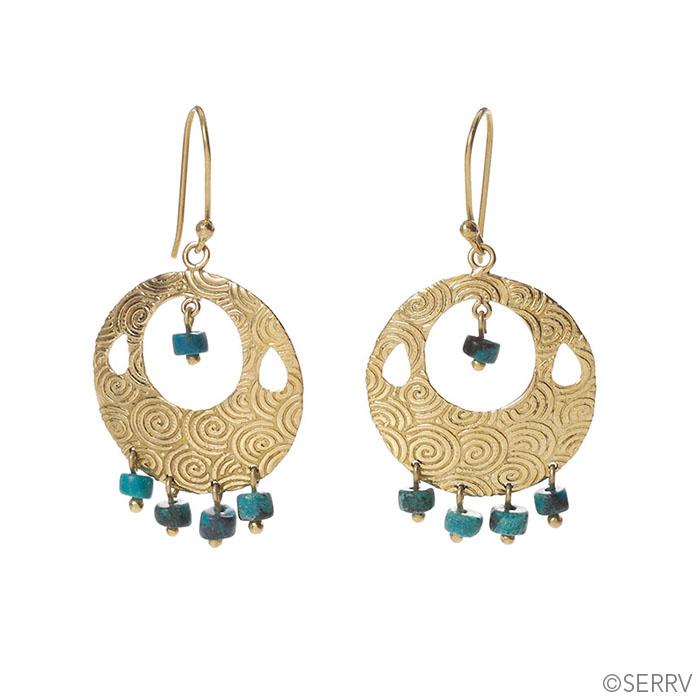 Turquoise Drop Disc Earrings