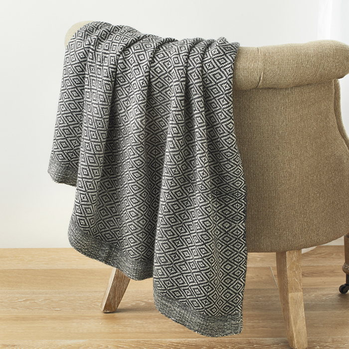 Alpaca Throw - Black Bird's-Eye