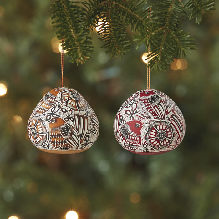 Avian Motif Gourd Ornament Set