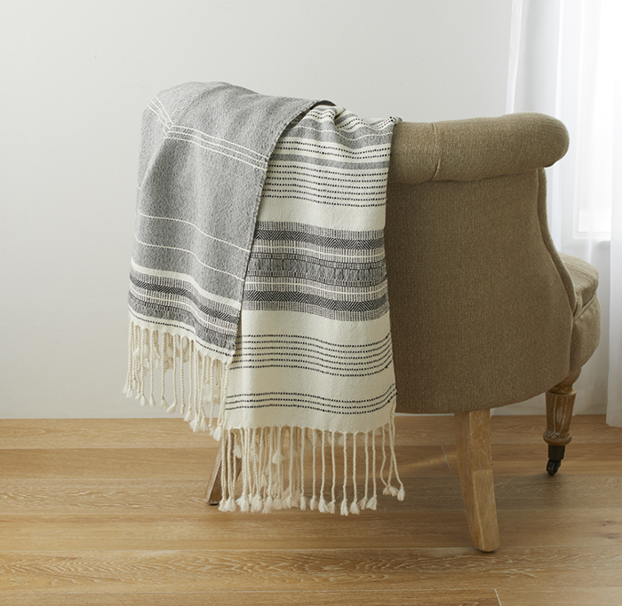 Alpaca Throw - Black & White Asymmetrical Stripe