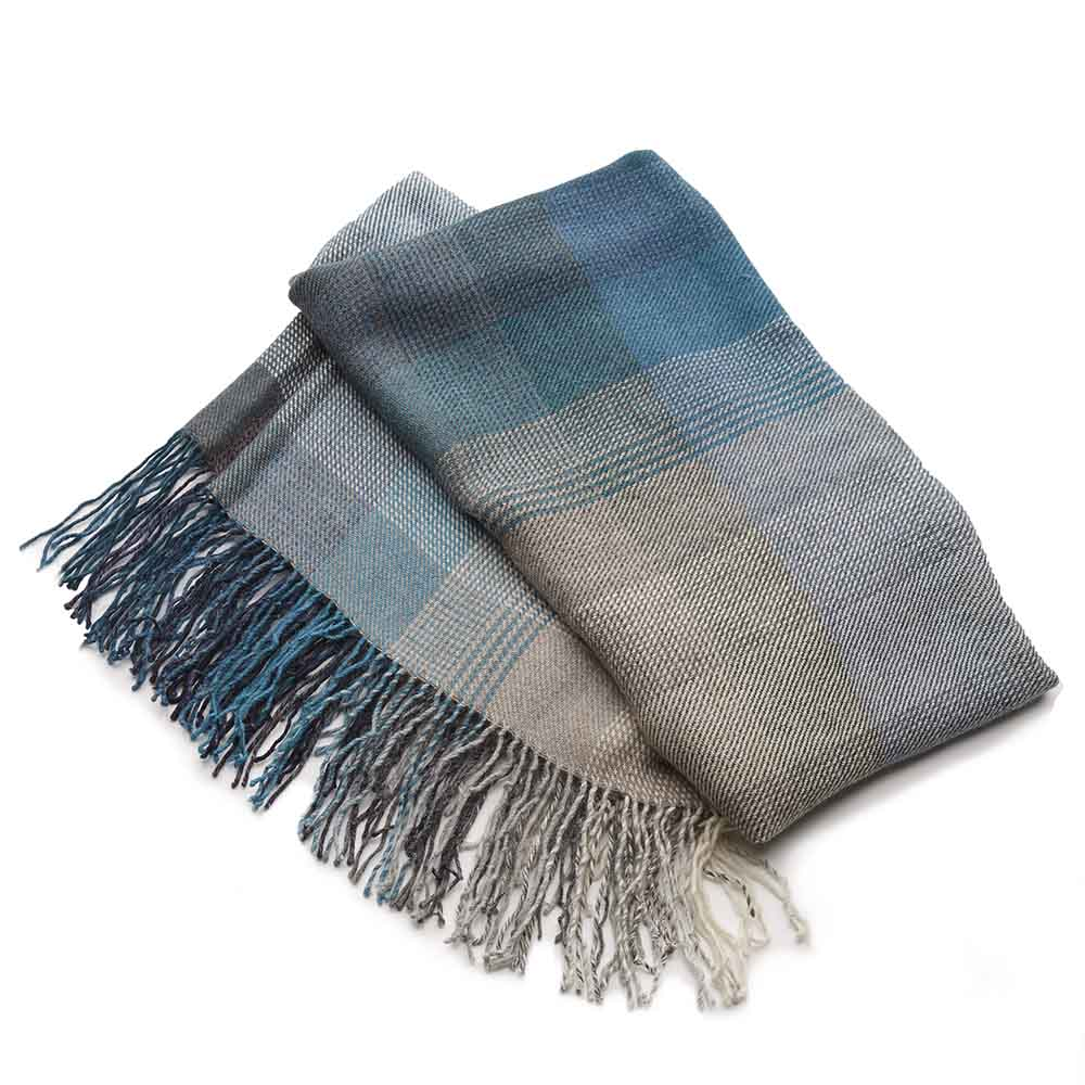 Alpaca Throw - Teal Fade Plaid