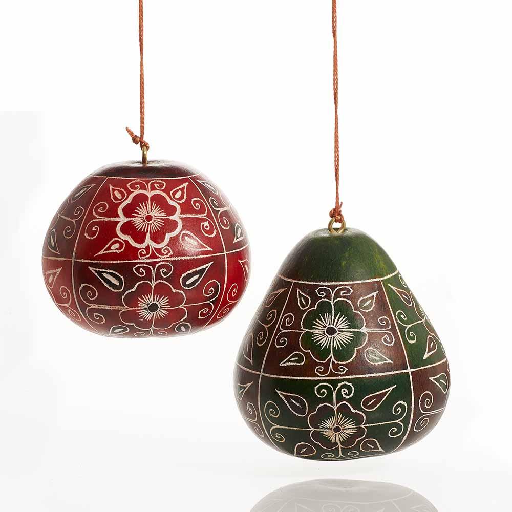 Floral Motif Gourd Ornaments - Set of 2