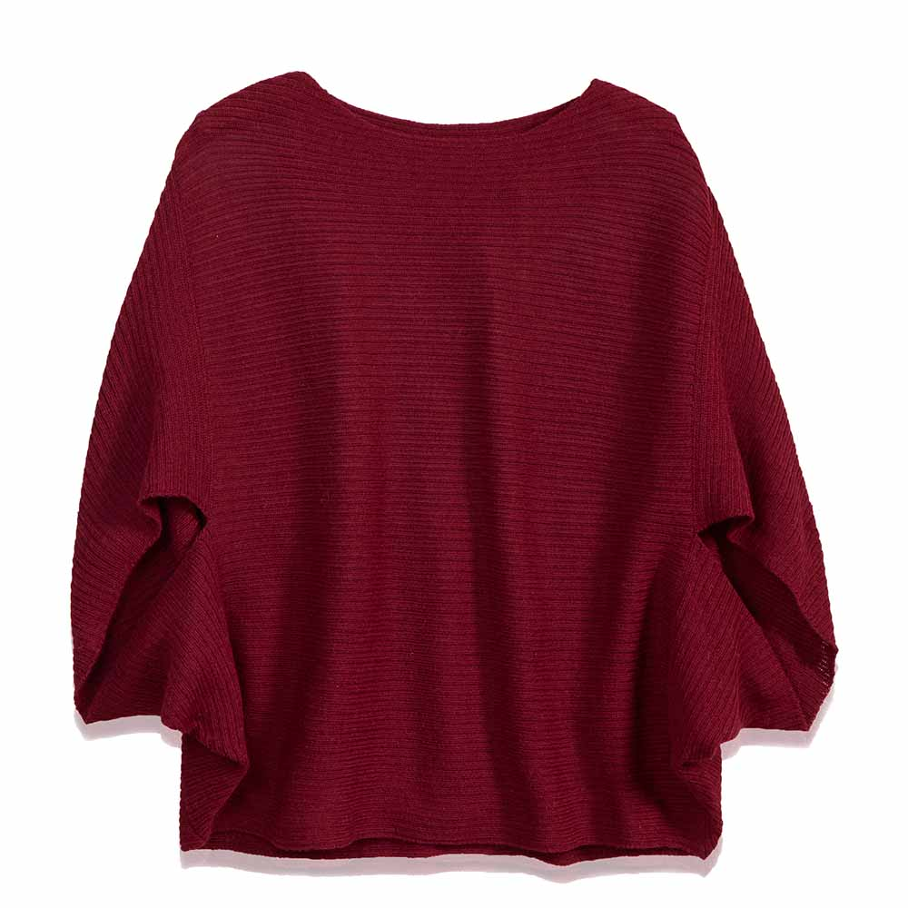 Knit Poncho Sweater - Cranberry