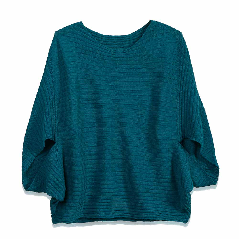 Knit Poncho Sweater - Ocean