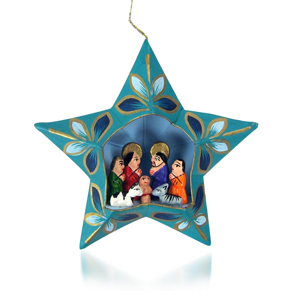 Blue Star Nativity Ornament