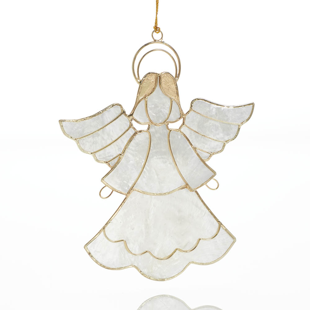 Golden Angel Capiz Ornament
