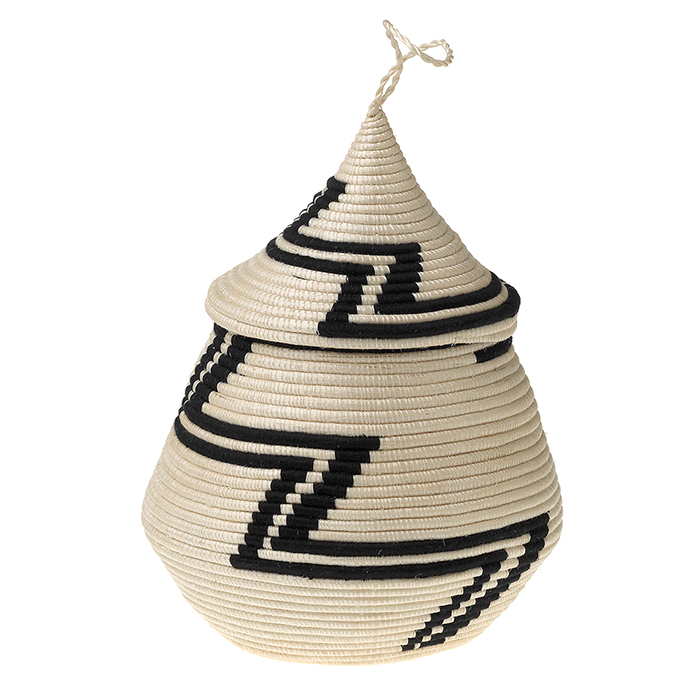 Rwandan Lidded Vessel Basket