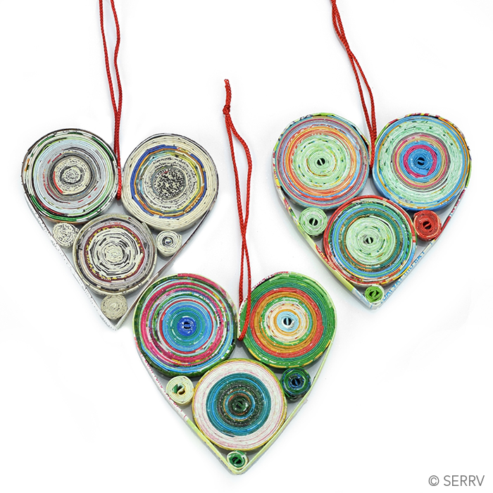 Set of 3 Colorwrap Heart Ornaments