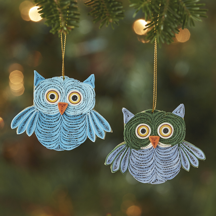 Quilled Owl Ornament Set