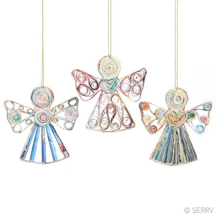 Recycled Paper Angels Ornaments