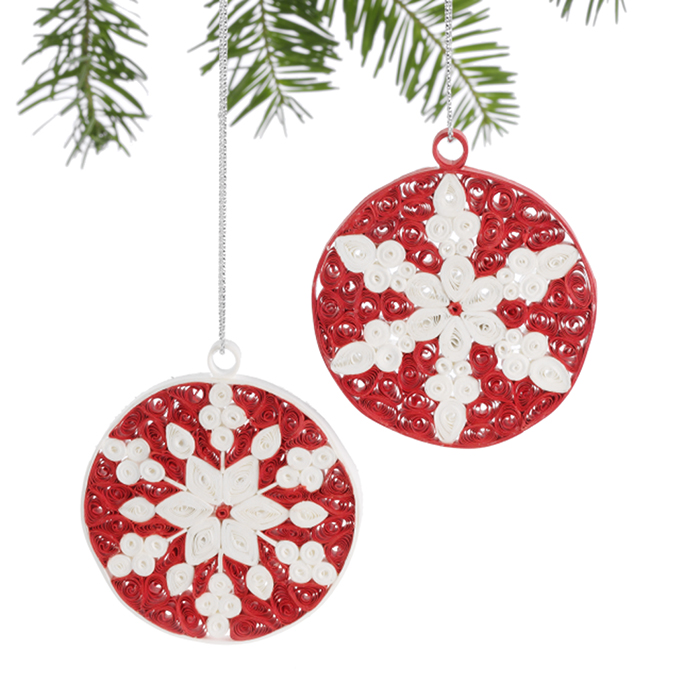 Red & White Quilled Snowflake Ornament Set