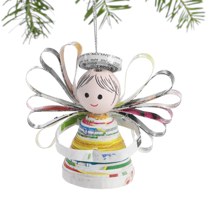 Happy Angel Recycled Ornament
