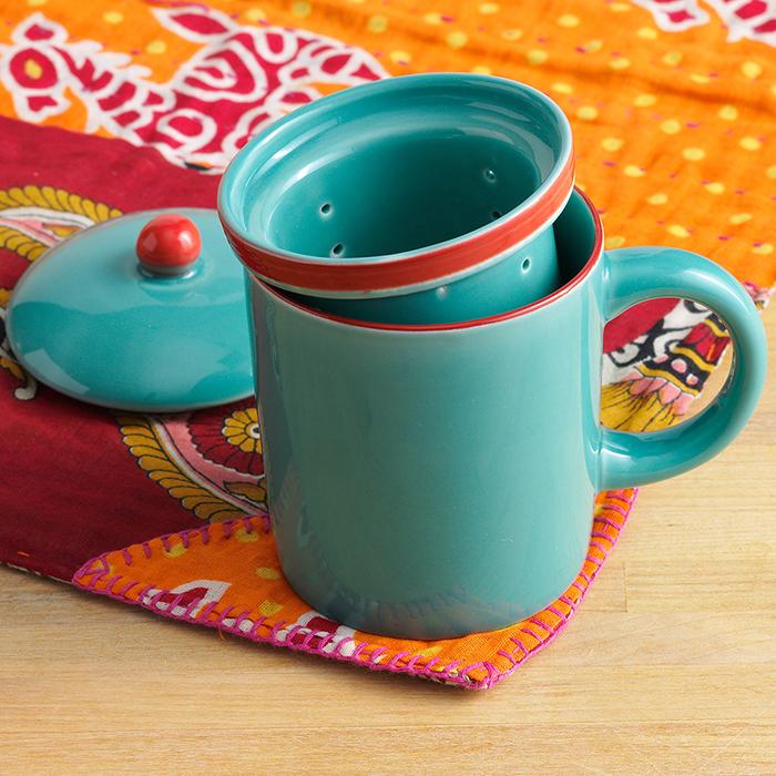 Turquoise Song Cai Tea Infuser Mug